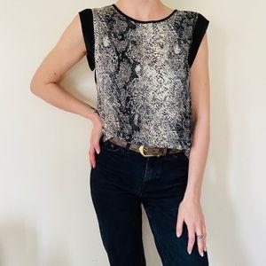 Walter Baker chiffon snake print sleeveless blouse